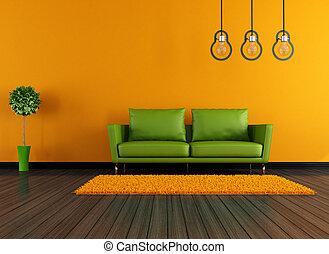 オレンジ, livingroom, 現代, 緑