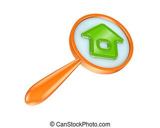 オレンジ, loupe, そして, 緑の家, icon.