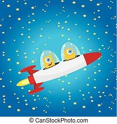 オレンジ, vector., 宇宙船, 外国人, スペース