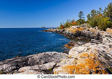オンタリオ, 海岸線, 北, 景色, 島, 小さい