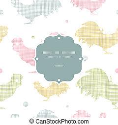 オンドリ, パターン, 抽象的, seamless, 織物, 背景, フレーム