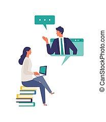 オンラインで, を経て, イラスト, 仕事, system., クラス, 持つこと, 人々, コミュニケーション, ...
