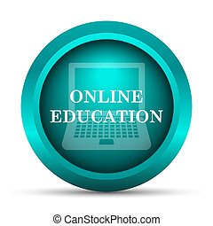 オンラインで, アイコン, 教育