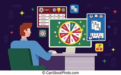 オンラインで, インターネット, ベクトル, ∥あるいは∥, ギャンブル, イラスト