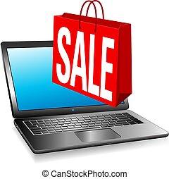 オンラインで, ウェブサイト, セール, 網, セール, 旗, 買い物袋