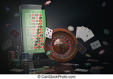 オンラインで, カジノ, concept., 移動式 電話, ルーレット, ∥で∥, カジノチップ, スロットマシン, そして, カード。