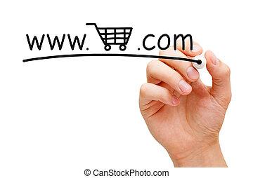 オンラインで, カート, 概念, 買い物