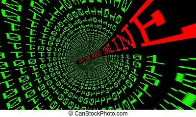 オンラインで, データ, トンネル