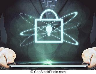 オンラインで, データ, 安全, 概念