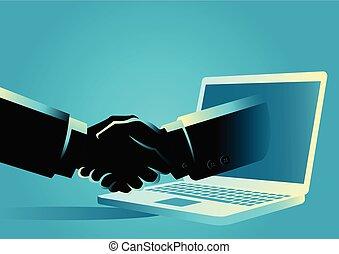 オンラインで, ビジネス, 取引
