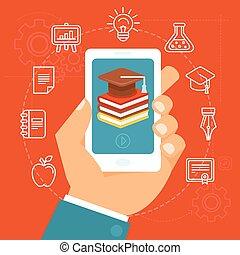オンラインで, ベクトル, 概念, 教育