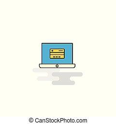 オンラインで, ベクトル, icon., 銀行業, 平ら