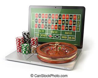 オンラインで, ルーレット, カジノ, concept., ラップトップ, ∥で∥, ルーレット, そして, カジノチップ