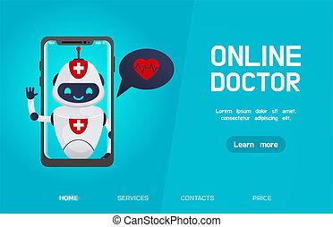 オンラインで, ロボット, 医者