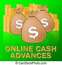 オンラインで, 先払い現金, 手段, ドル, ローン, 3d, イラスト