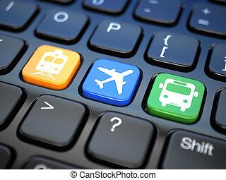 オンラインで, 切符, バス, キーボード, 列車, 飛行機。, 3d, ラップトップ, ∥あるいは∥, 予約