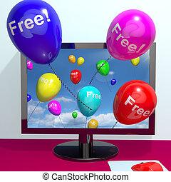 オンラインで, 到来, によって, 風船, コンピュータ, 無料で, ショー, freebies, 昇進