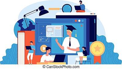 オンラインで, 専門家, 生徒, seminar., コンピュータ, 勉強, イラスト, グループ, 講義, webinar., 学校, ∥あるいは∥, デジタル, ベクトル, education., 人々