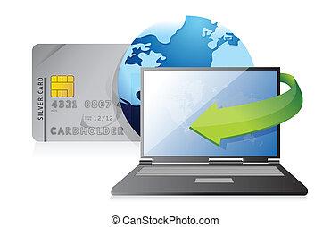 オンラインで, 支払, –, クレジットカード, 概念