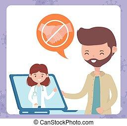 オンラインで, 相談しなさい, ラップトップ, covid, 避けなさい, 健康, 医者, 連絡, 人, coronavirus, 19