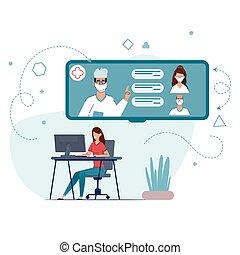 オンラインで, 相談, あなたの, 接続, 滞在, quarantine., 医者。, 家, 検疫, の間, coronarusom.