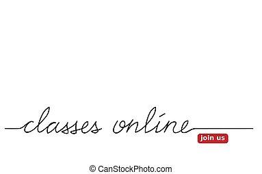 オンラインで, 私達, レタリング, 網, banner., 参加しなさい, button., ベクトル, クラス
