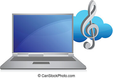オンラインで, 音楽, イラスト, 概念