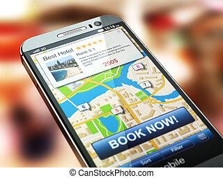 オンラインで, concept., システム, 調停, 予約, smartphone, ホテル, 予約, screen.