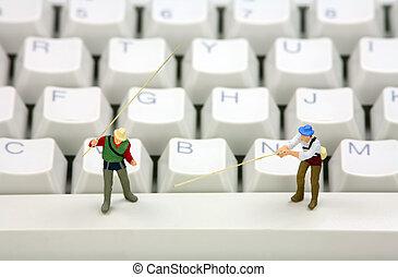 オンラインで, phishing, そして, アイデンティティの 盗難, 概念