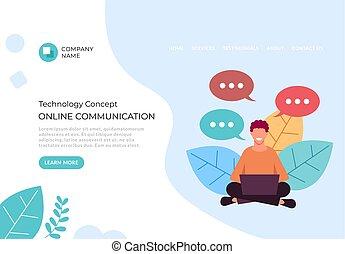 オンラインコミュニケーション, グラフィック, 平ら, concept., イラスト, 談笑する, デザイン, インターネット, ベクトル