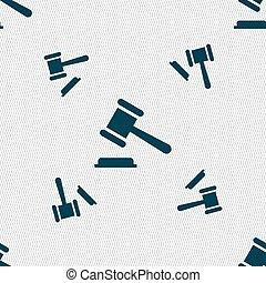 オークション, パターン, 印。, seamless, ∥あるいは∥, ベクトル, 裁判官, 幾何学的, ハンマー, texture., アイコン