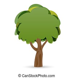オーク, イラスト, 定型, 木。, 緑, 図画