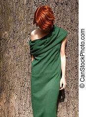 オーク, 服, 木, に対して, 女, 緑, 巨人