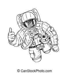 オーケー, スーツ, 宇宙飛行士, スペース, 手, ジェスチャー, 1(人・つ)