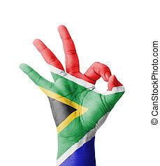 オーケー, 成功, 印, アフリカ, シンボル, -, 隔離された, 手, ペイントされた, 旗, 南, 背景, 作成, 白, positivity, 最も良く, 品質