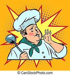 オーケー, 食通, ポンとはじけなさい, ジェスチャー, 食物, 味, レトロ, コック, 芸術
