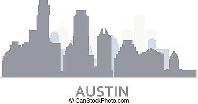 オースティン, -, シルエット, テキサス, ダウンタウンに, 都市, スカイライン