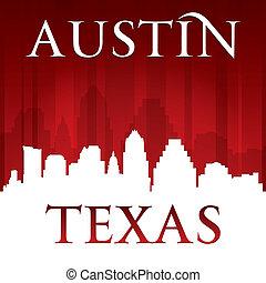 オースティン, 背景, スカイライン, 都市, 赤, シルエット, テキサス