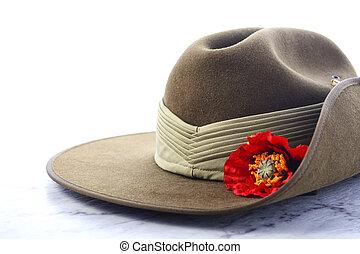 オーストラリア人, 帽子, 日, slouch, anzac