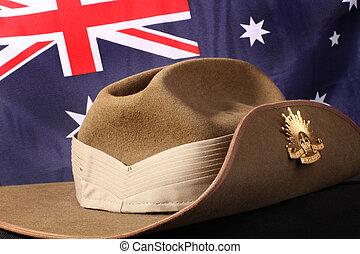 オーストラリア人, 帽子, 軍隊, slouch, 旗
