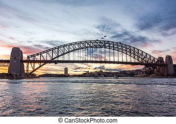 オーストラリア人, 画像的, ランドマーク, シドニー 港 橋, に対して, 絵のよう, 日没の 空