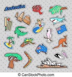 オーストラリア, いたずら書き, 旅行, animals., ベクトル, 建築, 要素
