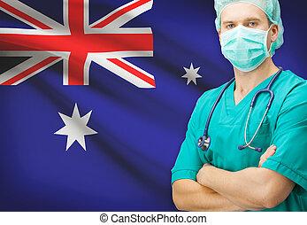オーストラリア, シリーズ, 国民, -, 旗, 背景, 外科医