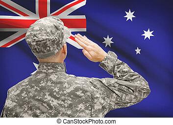 オーストラリア, シリーズ, 国民, -, 表面仕上げ, 兵士, 旗, 帽子
