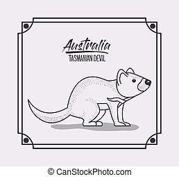オーストラリア, シルエット, フレーム, tasmanian デビル, モノクローム