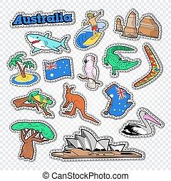 オーストラリア, 動物, パッチ, architecture., 旅行, 地図, ベクトル, イラスト, ステッカー, doodle., オーストラリア人, バッジ