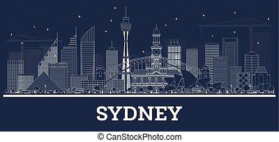オーストラリア, 建物。, スカイライン, シドニー, 白, アウトライン
