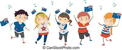 オーストラリア, 日, 子供, stickman, イラスト, ダンス