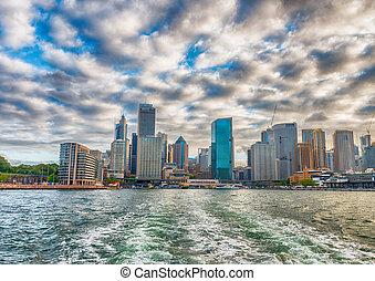 オーストラリア, 航空写真, スカイライン, シドニー, 光景