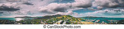 オーストラリア, 航空写真, パノラマである, airlie, マリーナ, スカイライン, 浜, 光景
